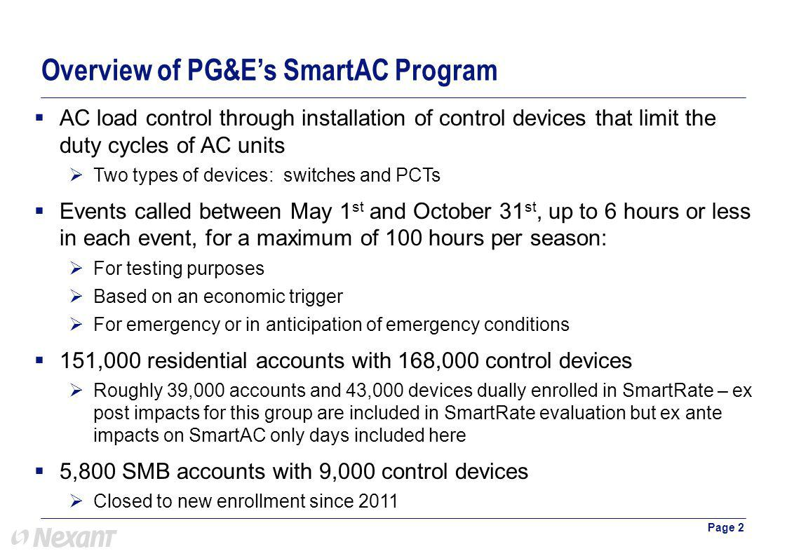 Overview of PG&Es SmartAC Program Page 2 AC load control through installation of control devices that limit the duty cycles of AC units Two types of devices: switches and PCTs Events called between May 1 st and October 31 st, up to 6 hours or less in each event, for a maximum of 100 hours per season: For testing purposes Based on an economic trigger For emergency or in anticipation of emergency conditions 151,000 residential accounts with 168,000 control devices Roughly 39,000 accounts and 43,000 devices dually enrolled in SmartRate – ex post impacts for this group are included in SmartRate evaluation but ex ante impacts on SmartAC only days included here 5,800 SMB accounts with 9,000 control devices Closed to new enrollment since 2011