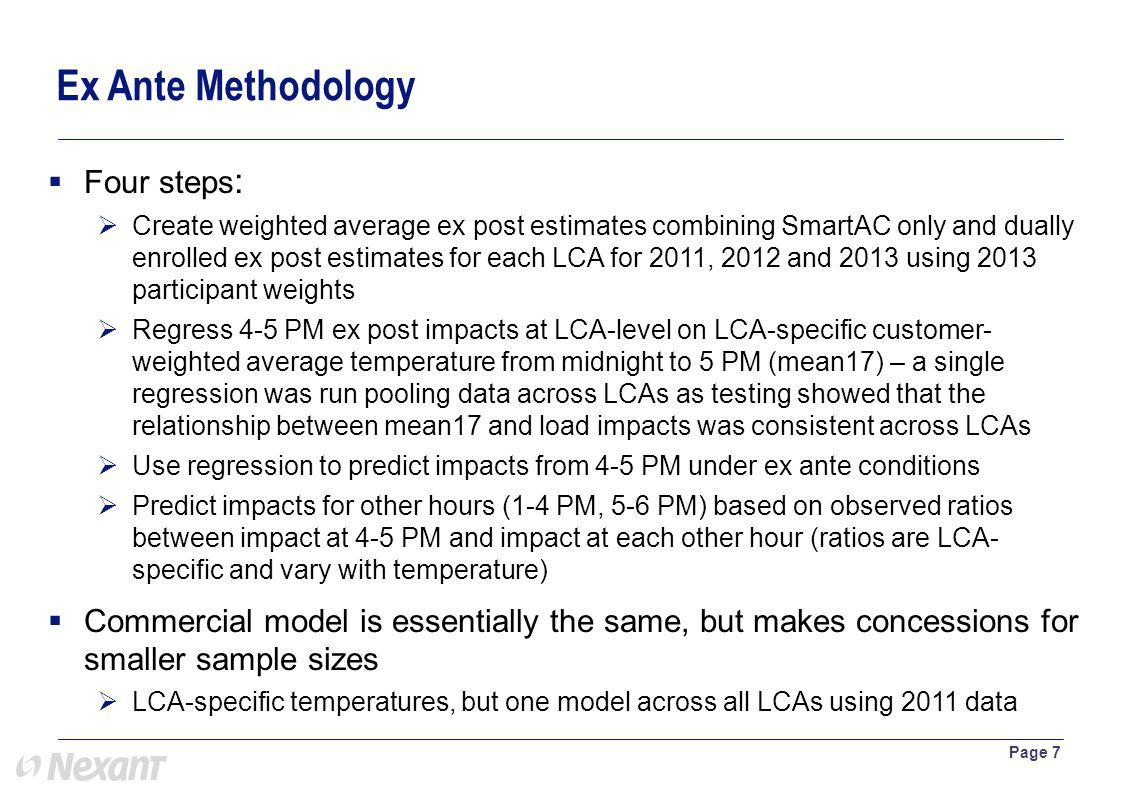 Four steps : Create weighted average ex post estimates combining SmartAC only and dually enrolled ex post estimates for each LCA for 2011, 2012 and 2013 using 2013 participant weights Regress 4-5 PM ex post impacts at LCA-level on LCA-specific customer- weighted average temperature from midnight to 5 PM (mean17) – a single regression was run pooling data across LCAs as testing showed that the relationship between mean17 and load impacts was consistent across LCAs Use regression to predict impacts from 4-5 PM under ex ante conditions Predict impacts for other hours (1-4 PM, 5-6 PM) based on observed ratios between impact at 4-5 PM and impact at each other hour (ratios are LCA- specific and vary with temperature) Commercial model is essentially the same, but makes concessions for smaller sample sizes LCA-specific temperatures, but one model across all LCAs using 2011 data Page 7