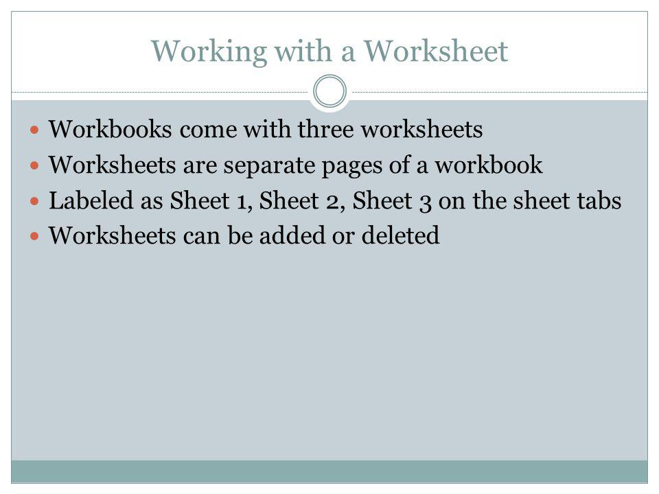 Working with a Worksheet Workbooks come with three worksheets Worksheets are separate pages of a workbook Labeled as Sheet 1, Sheet 2, Sheet 3 on the