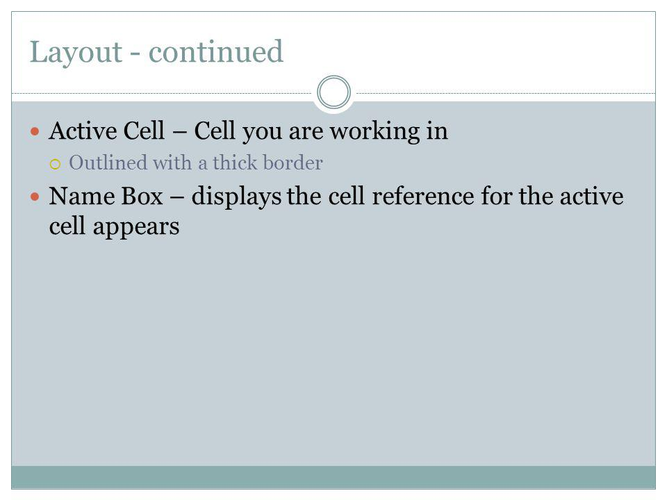 Layout - continued Active Cell – Cell you are working in Outlined with a thick border Name Box – displays the cell reference for the active cell appea