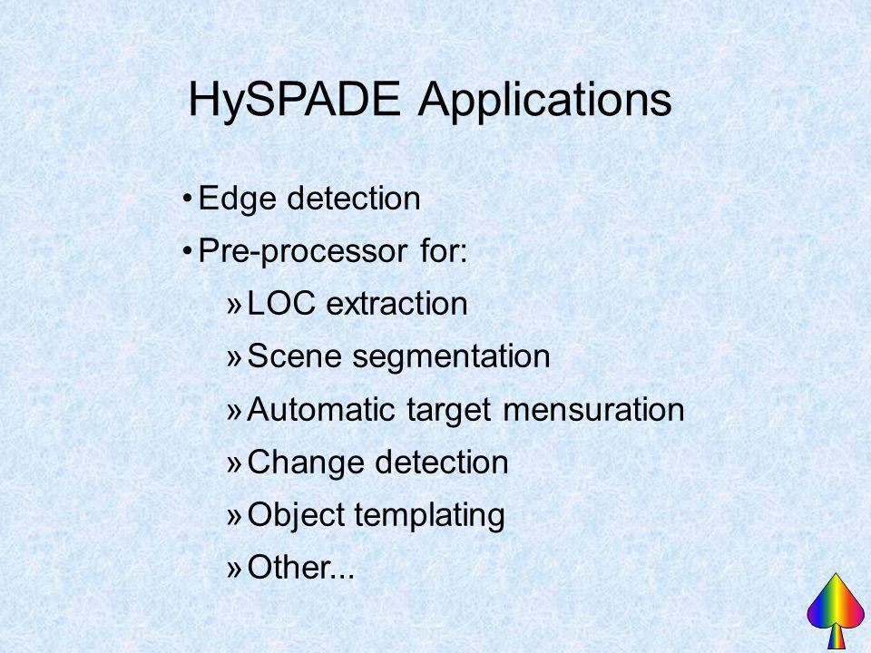 HySPADE Applications Edge detection Pre-processor for: »LOC extraction »Scene segmentation »Automatic target mensuration »Change detection »Object tem