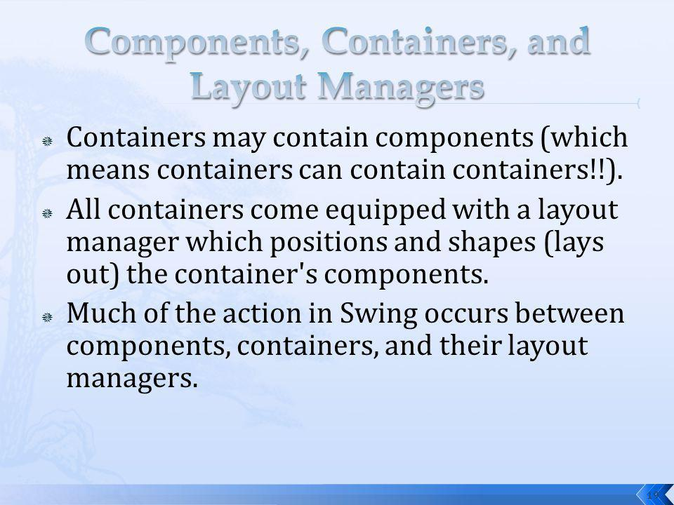 19 Containers may contain components (which means containers can contain containers!!). All containers come equipped with a layout manager which posit