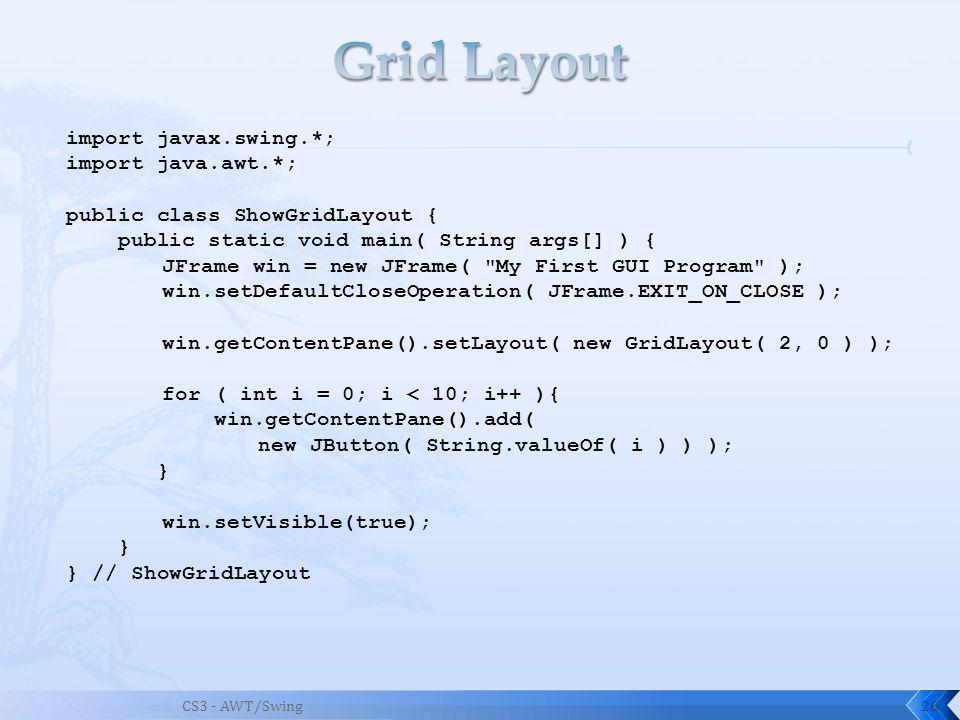 CS3 - AWT/Swing26 import javax.swing.*; import java.awt.*; public class ShowGridLayout { public static void main( String args[] ) { JFrame win = new JFrame( My First GUI Program ); win.setDefaultCloseOperation( JFrame.EXIT_ON_CLOSE ); win.getContentPane().setLayout( new GridLayout( 2, 0 ) ); for ( int i = 0; i < 10; i++ ){ win.getContentPane().add( new JButton( String.valueOf( i ) ) ); } win.setVisible(true); } } // ShowGridLayout