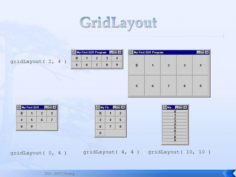 CS3 - AWT/Swing27 gridLayout( 2, 4 ) gridLayout( 0, 4 ) gridLayout( 4, 4 )gridLayout( 10, 10 )