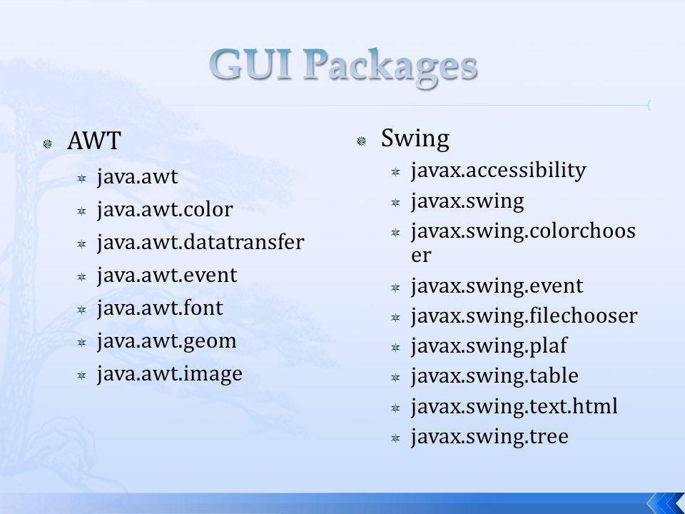 AWT java.awt java.awt.color java.awt.datatransfer java.awt.event java.awt.font java.awt.geom java.awt.image Swing javax.accessibility javax.swing javax.swing.colorchoos er javax.swing.event javax.swing.filechooser javax.swing.plaf javax.swing.table javax.swing.text.html javax.swing.tree