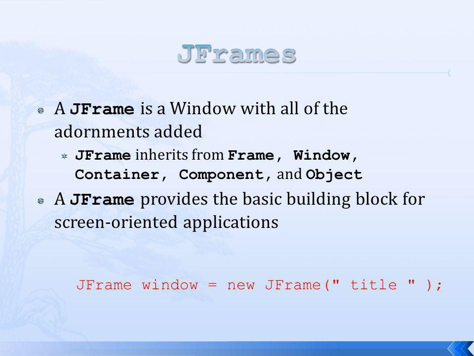 JFrame window = new JFrame(