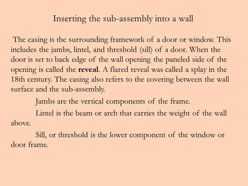 Inserting the sub-assembly into a wall The casing is the surrounding framework of a door or window.