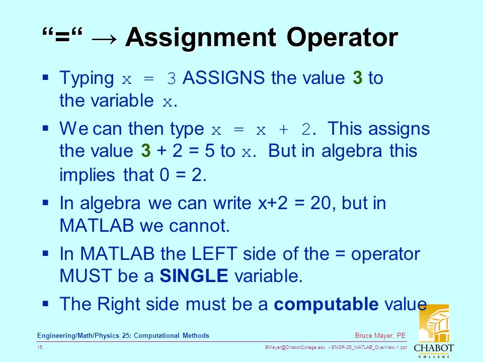 BMayer@ChabotCollege.edu ENGR-25_MATLAB_OverView-1.ppt 15 Bruce Mayer, PE Engineering/Math/Physics 25: Computational Methods = Assignment Operator Typ