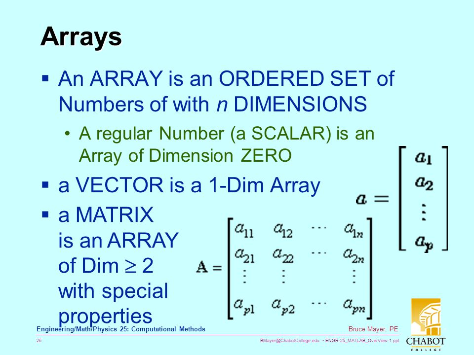 BMayer@ChabotCollege.edu ENGR-25_MATLAB_OverView-1.ppt 26 Bruce Mayer, PE Engineering/Math/Physics 25: Computational Methods Arrays An ARRAY is an ORD
