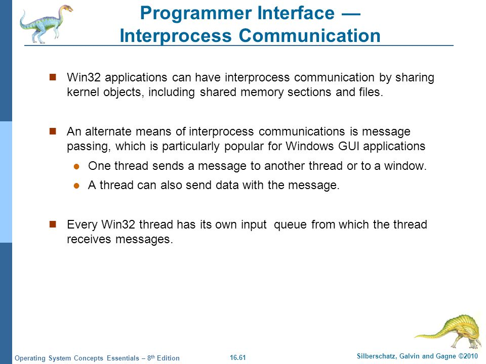 16.61 Silberschatz, Galvin and Gagne ©2010 Operating System Concepts Essentials – 8 th Edition Programmer Interface Interprocess Communication Win32 a