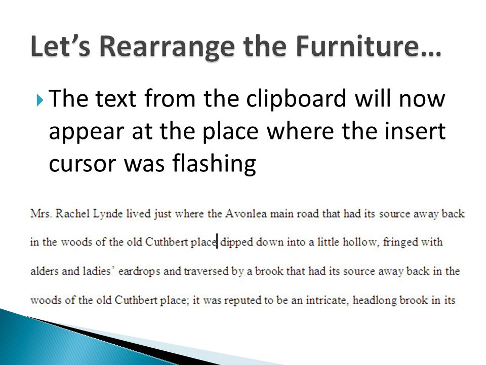 The text from the clipboard will now appear at the place where the insert cursor was flashing