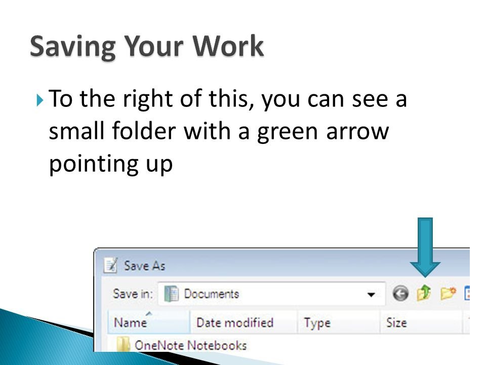 To the right of this, you can see a small folder with a green arrow pointing up