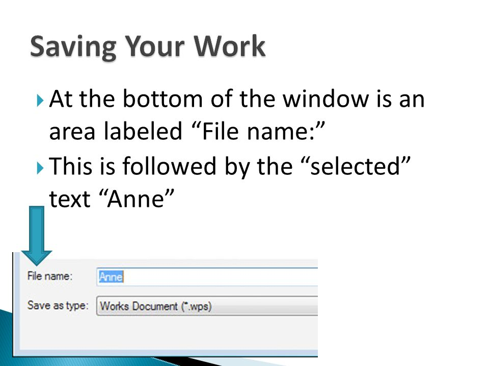 At the bottom of the window is an area labeled File name: This is followed by the selected text Anne