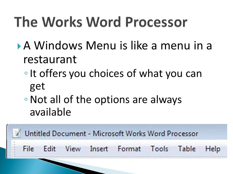 A Windows Menu is like a menu in a restaurant It offers you choices of what you can get Not all of the options are always available