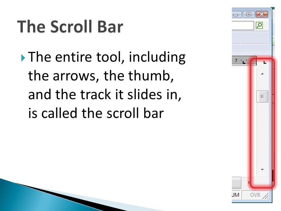 The entire tool, including the arrows, the thumb, and the track it slides in, is called the scroll bar