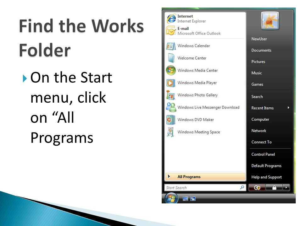On the Start menu, click on All Programs
