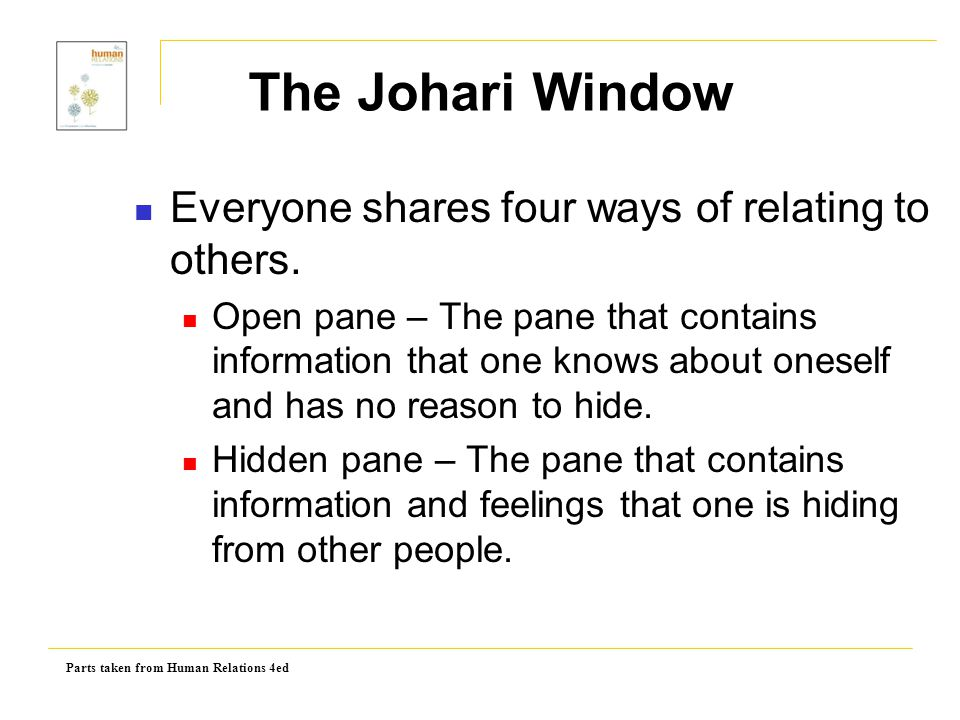 Parts taken from Human Relations 4ed Blind pane – The pane that contains everything other people can see about a person, but the person cannot see about himself.