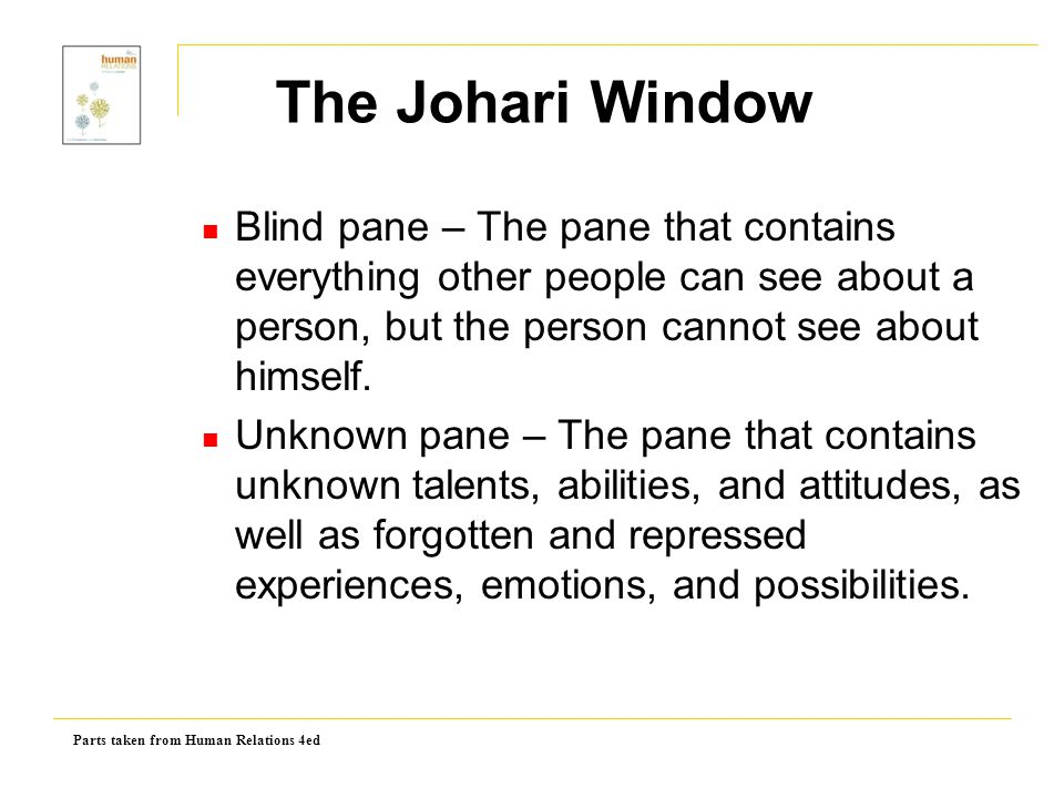 Parts taken from Human Relations 4ed Blind pane – The pane that contains everything other people can see about a person, but the person cannot see abo