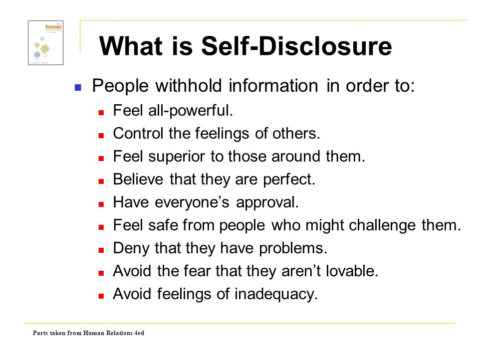 Parts taken from Human Relations 4ed Outcomes of Failing to Self-Disclose Figure 3.3: Four Outcomes Of Failing To Self- Disclose