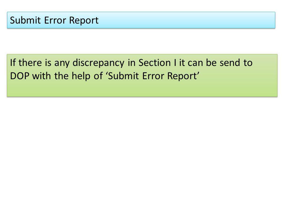 Submit Error Report