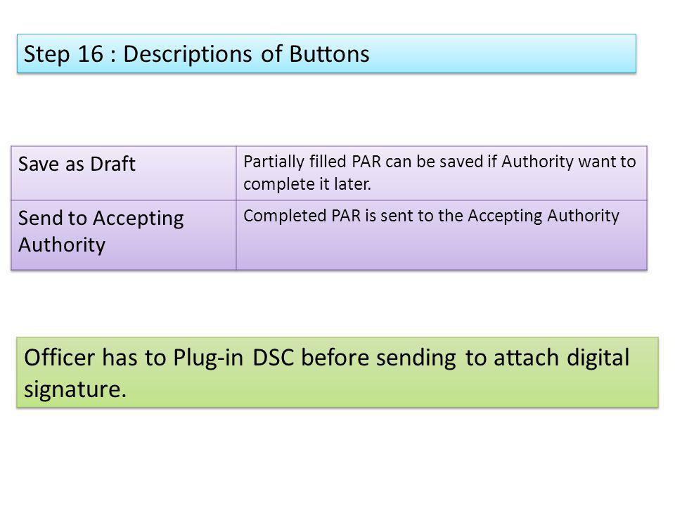 Step 16 : Descriptions of Buttons