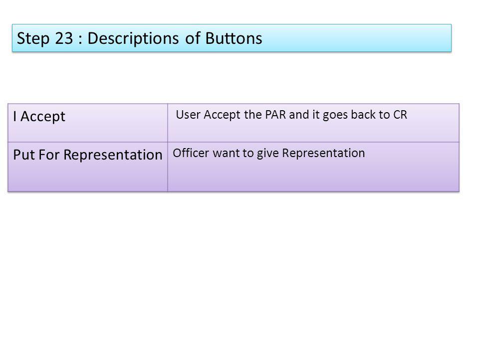 Step 23 : Descriptions of Buttons