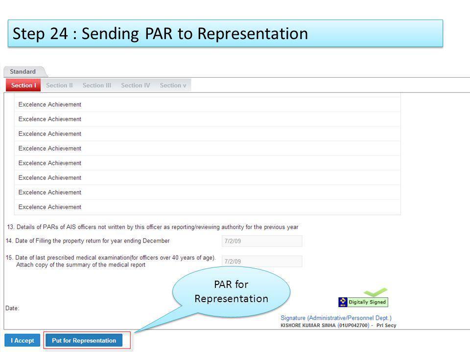 Step 24 : Sending PAR to Representation PAR for Representation