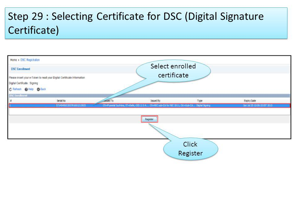 Select enrolled certificate Click Register Step 29 : Selecting Certificate for DSC (Digital Signature Certificate)