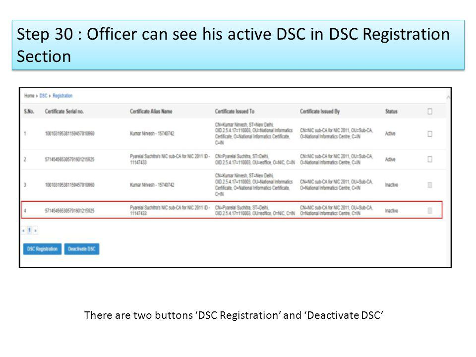 Step 30 : Officer can see his active DSC in DSC Registration Section There are two buttons DSC Registration and Deactivate DSC