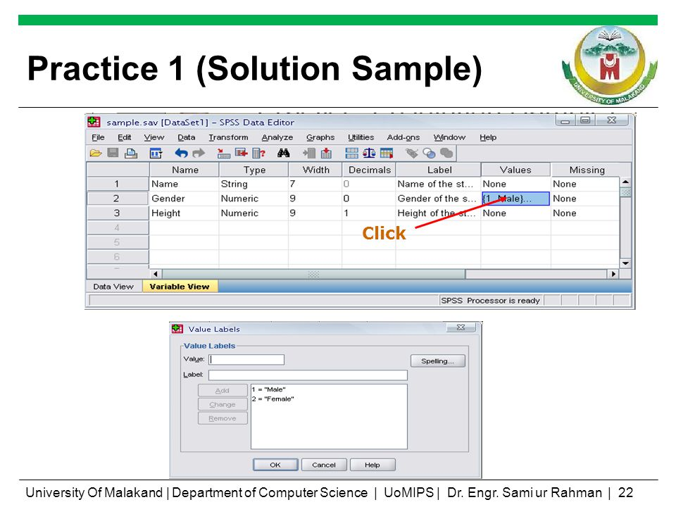 Practice 1 (Solution Sample) Click University Of Malakand | Department of Computer Science | UoMIPS | Dr.
