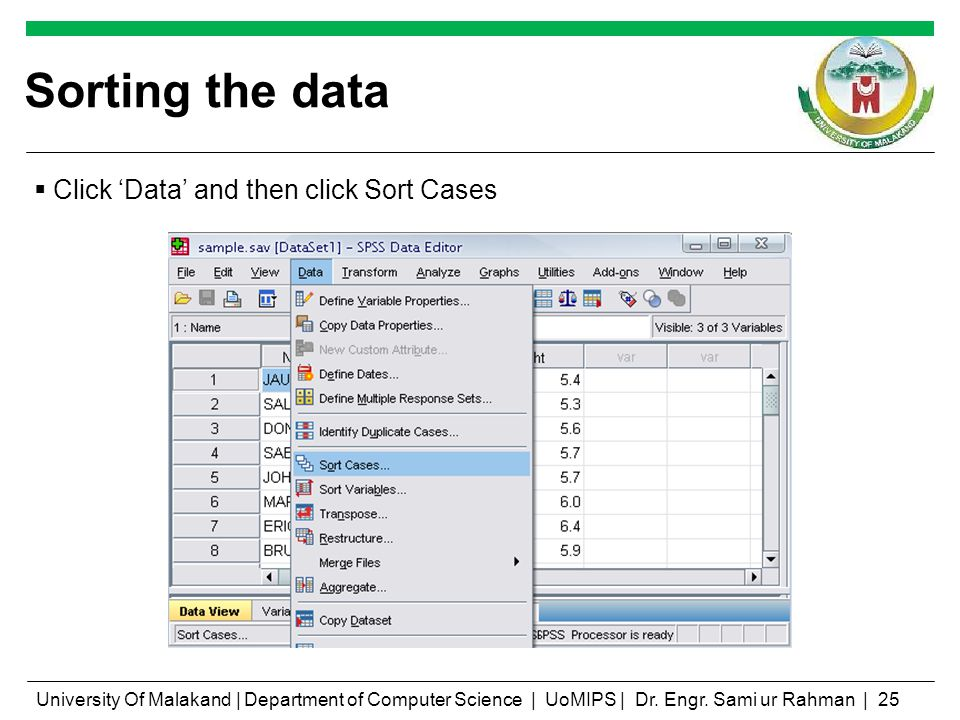Sorting the data Click Data and then click Sort Cases University Of Malakand   Department of Computer Science   UoMIPS   Dr.