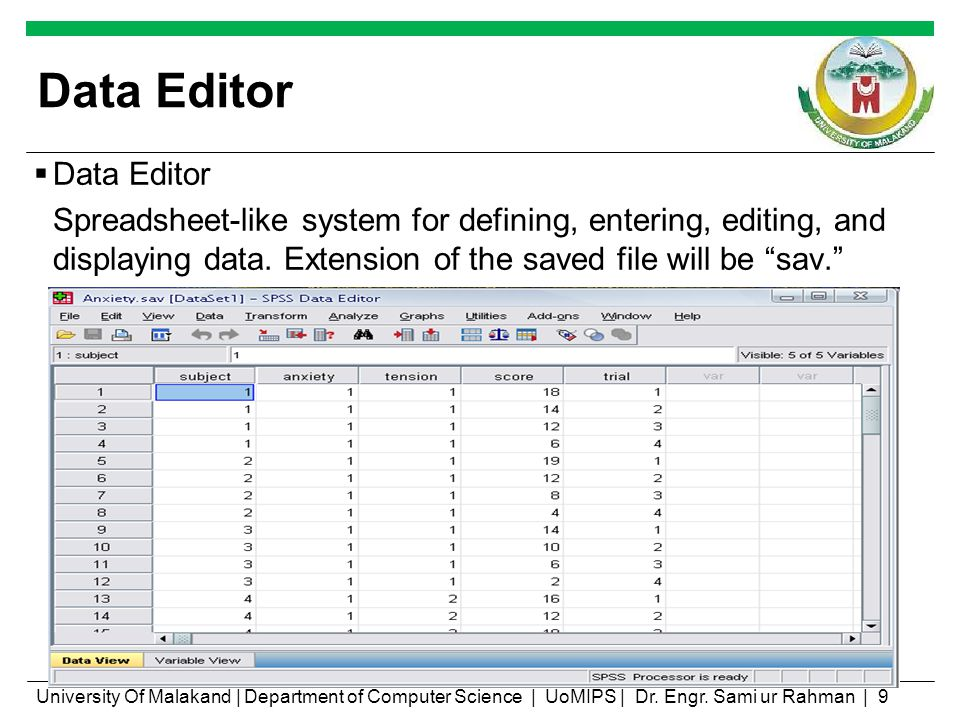 Data Editor Spreadsheet-like system for defining, entering, editing, and displaying data. Extension of the saved file will be sav. University Of Malak