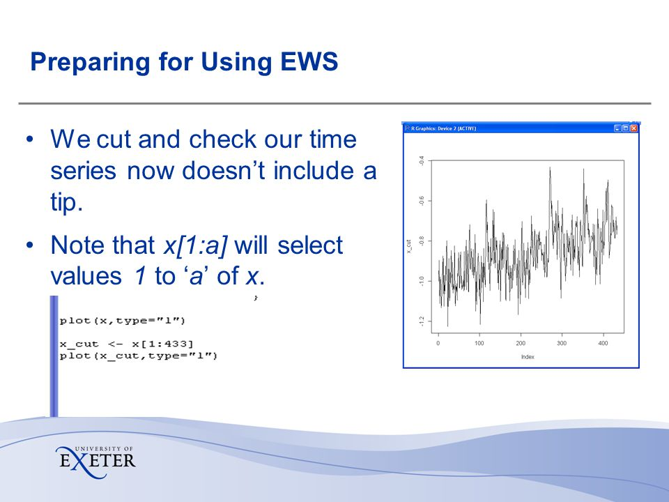 Preparing for Using EWS We cut and check our time series now doesnt include a tip.