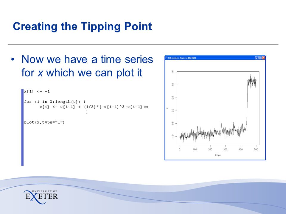 Creating the Tipping Point Now we have a time series for x which we can plot it