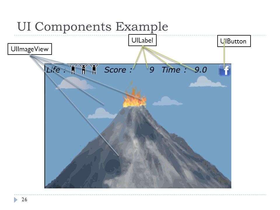 UI Components Example 26 UIImageView UILabel UIButton