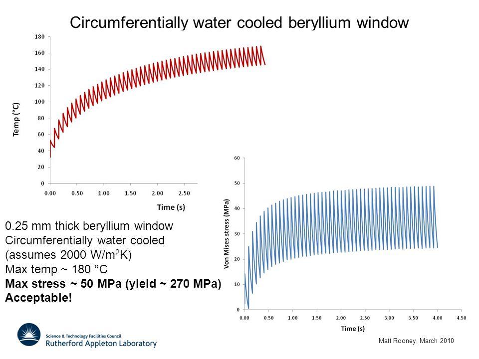 Circumferentially water cooled beryllium window Matt Rooney, March 2010 0.25 mm thick beryllium window Circumferentially water cooled (assumes 2000 W/m 2 K) Max temp ~ 180 °C Max stress ~ 50 MPa (yield ~ 270 MPa) Acceptable!