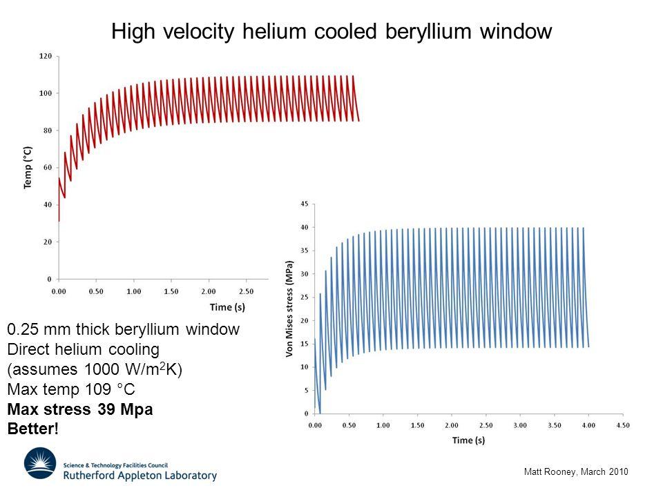 High velocity helium cooled beryllium window Matt Rooney, March 2010 0.25 mm thick beryllium window Direct helium cooling (assumes 1000 W/m 2 K) Max temp 109 °C Max stress 39 Mpa Better!