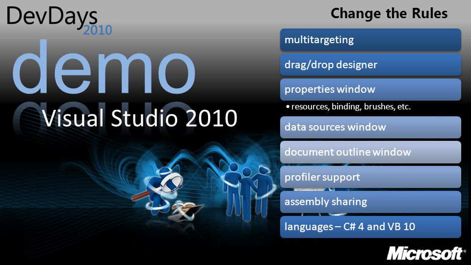 Change the Rules Visual Studio 2010 multitargetingdrag/drop designerproperties window resources, binding, brushes, etc. data sources windowdocument ou