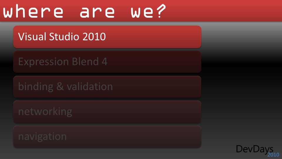where are we? Visual Studio 2010 Expression Blend 4 binding & validation networking navigation