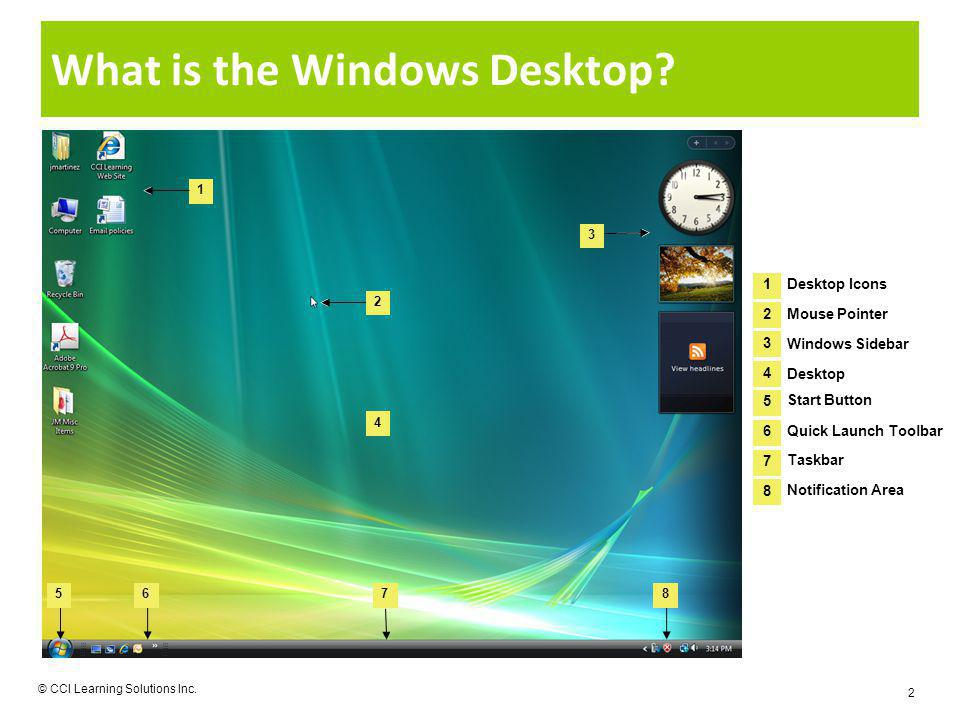 What is the Windows Desktop? © CCI Learning Solutions Inc. 2 1 4 3 5678 2 1 2 Desktop Icons Mouse Pointer 3 4 Windows Sidebar Desktop 5 6 Start Button