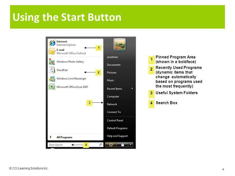 Using the Start Button © CCI Learning Solutions Inc. 4 1 4 3 2 4 1 2 3 Recently Used Programs (dynamic items that change automatically based on progra