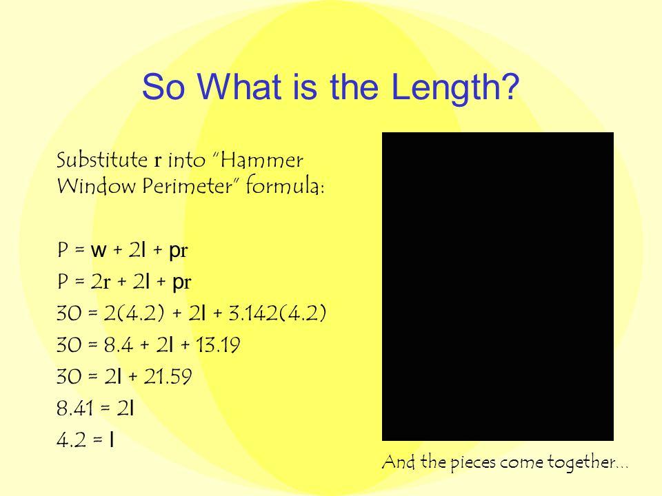 The Graph (4.2, 63) A( r ) = 30 r - 3.571 r 2