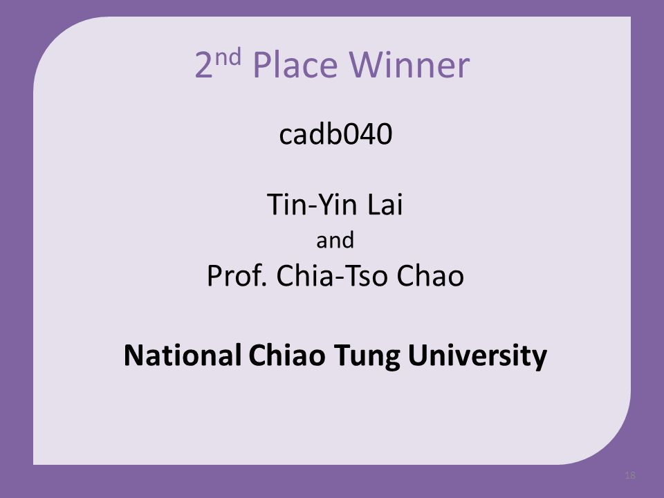 18 cadb040 Tin-Yin Lai and Prof. Chia-Tso Chao National Chiao Tung University 2 nd Place Winner