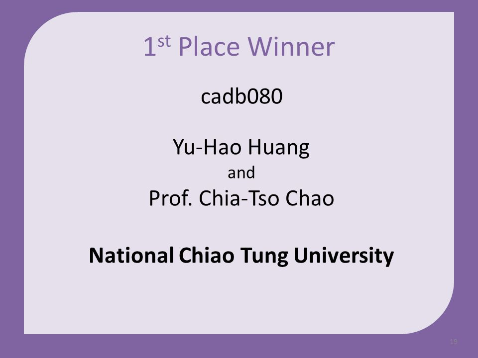 19 cadb080 Yu-Hao Huang and Prof. Chia-Tso Chao National Chiao Tung University 1 st Place Winner