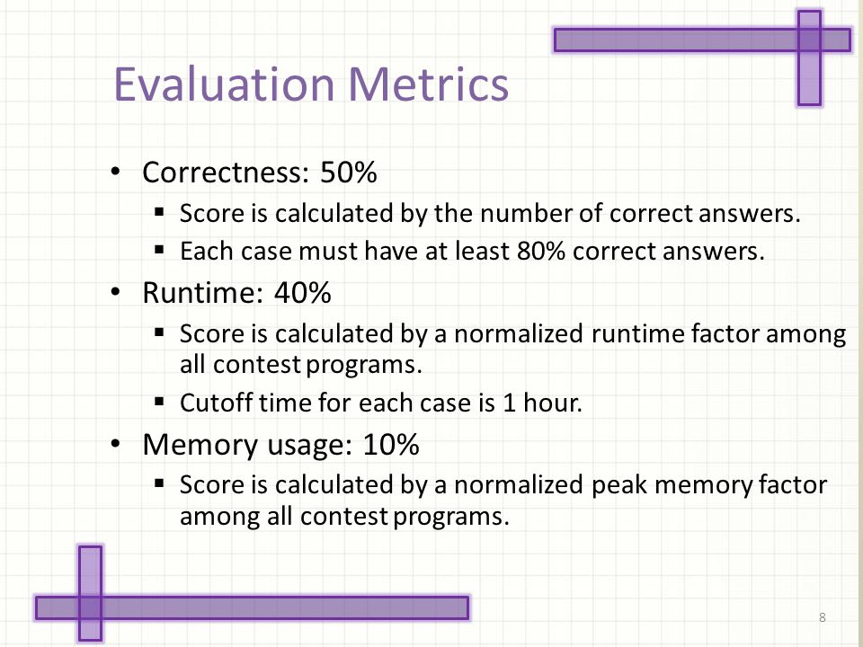Evaluation Metrics 8 Correctness: 50% Score is calculated by the number of correct answers. Each case must have at least 80% correct answers. Runtime: