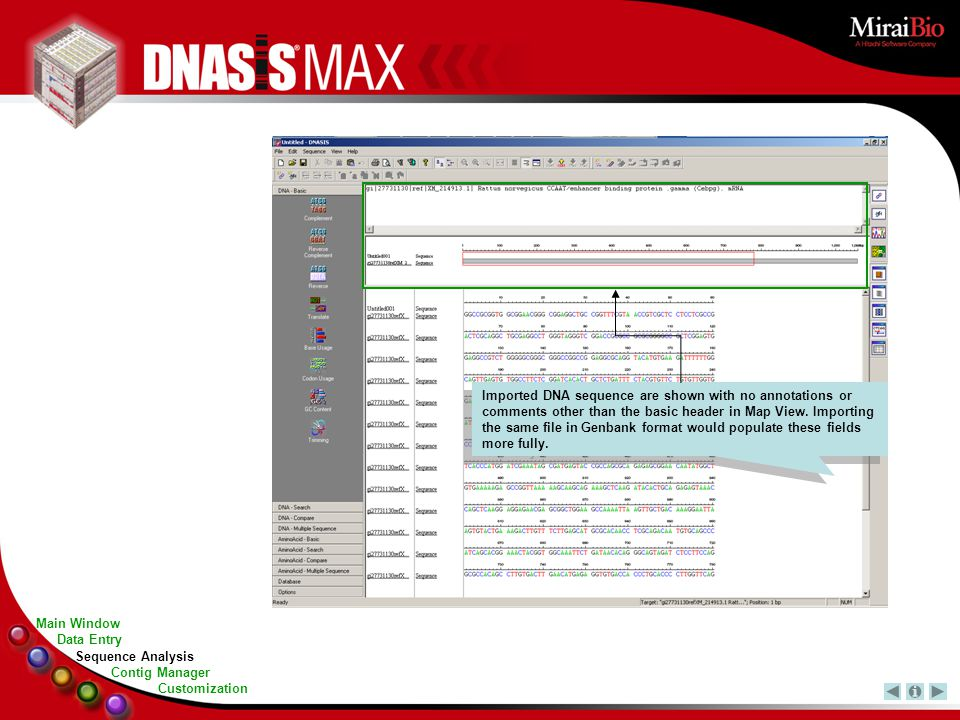 Imported DNA sequence are shown with no annotations or comments other than the basic header in Map View.