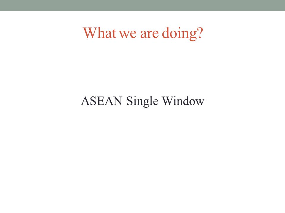 What we are doing? ASEAN Single Window
