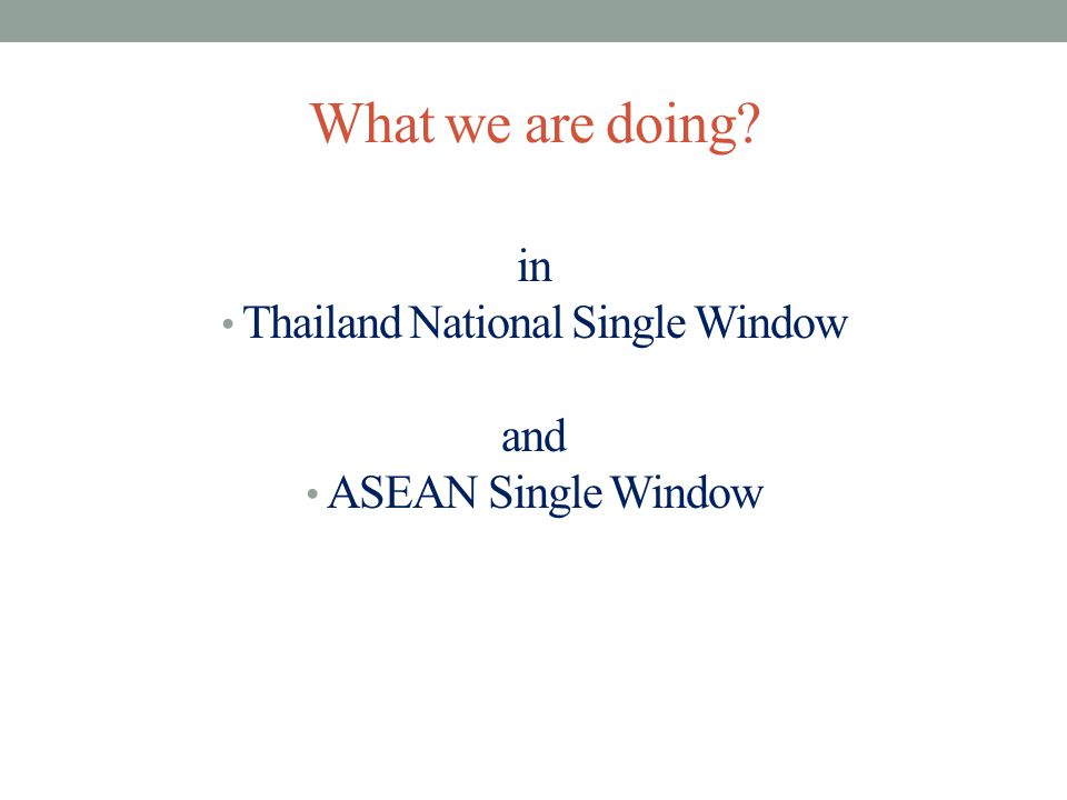 What we are doing? in Thailand National Single Window and ASEAN Single Window