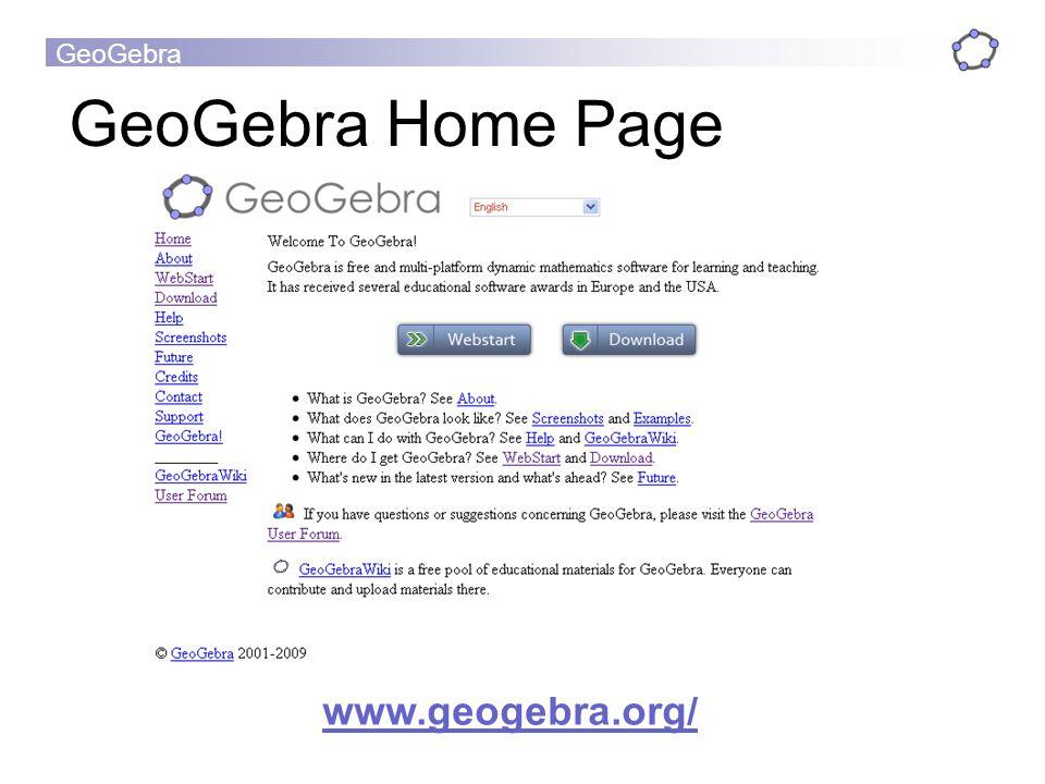 GeoGebra GeoGebra Home Page www.geogebra.org/