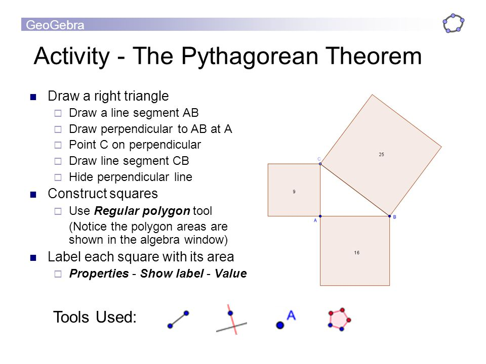 GeoGebra Activity - The Pythagorean Theorem Draw a right triangle Draw a line segment AB Draw perpendicular to AB at A Point C on perpendicular Draw l